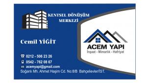 Acem Yapı Kentsel Dönüşüm Merkezi (İnşaat-Mimarlık-Hafriyat)