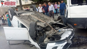 Feci kaza;5 metre yükseklikten takla attı