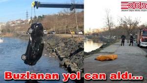 Bakırköy'de feci kaza: Yayaya çarptı, dereye uçtu