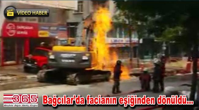 Doğalgaz borusu patladı, iki araç alev alev yandı