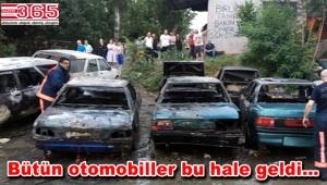 Güngören'de park halinde bulunan 6 araç alev alev yandı