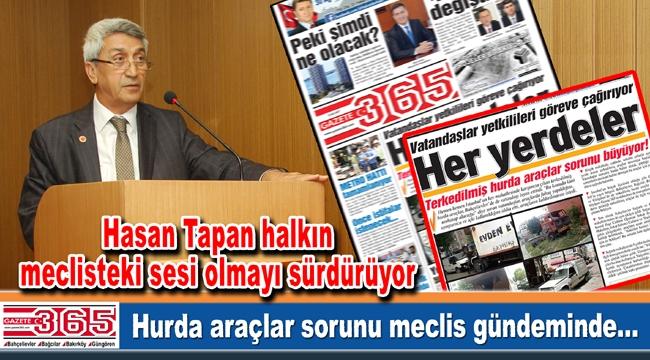 """Hasan Tapan Gazete 365'in """"Her yerdeler"""" manşetini meclise taşıdı"""