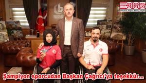 Akdeniz Oyunları şampiyonu Zübeyde Süpürgeci Çağırıcı'yı ziyaret etti