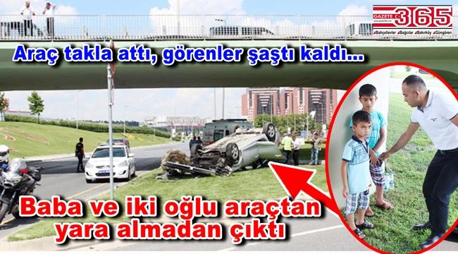 Bakırköy'de feci kaza: Baba ve iki oğlunun bulunduğu araç takla attı