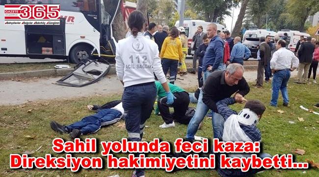 Bakırköy'de servis aracı kaza yaptı: 11 yaralı