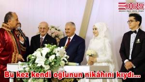 TBMM Başkanı Binali Yıldırım, Başkan Çağırıcı'nın oğlunun nikah şahidi oldu