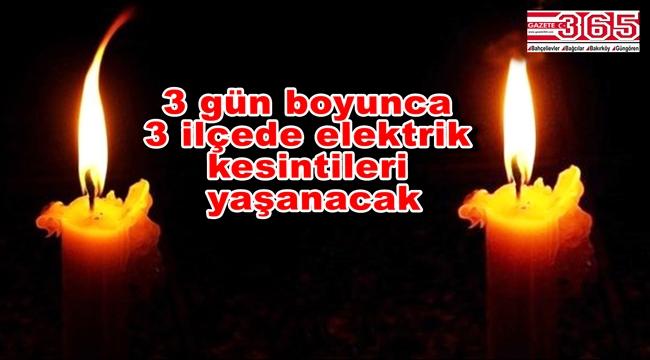 Bahçelievler, Bağcılar ve Bakırköy'de elektrik kesintisi…