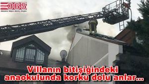 Bakırköy'de bir villanın çatısında yangın çıktı