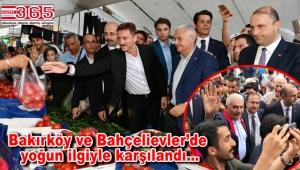 Binali Yıldırım, Bakırköy ve Bahçelievler'de esnaf ve vatandaşlarla kucaklaştı