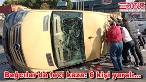 Bağcılar'da minibüsle hafif ticari araç çarpıştı; 6 kişi yaralandı