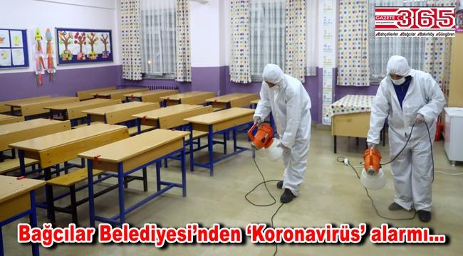 Bağcılar'da okullar gece boyunca dezenfekte ediliyor