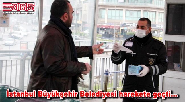 İBB, toplu ulaşımda 100 Bin maske dağıttı