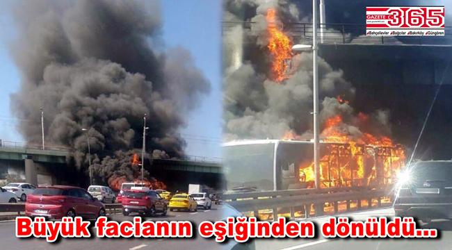 Bakırköy'de metrobüs yangını! Facianın eşiğinden dönüldü