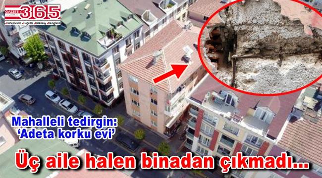 Güngören'de çökme tehlikesi olan 5 katlı bina tedirgin ediyor