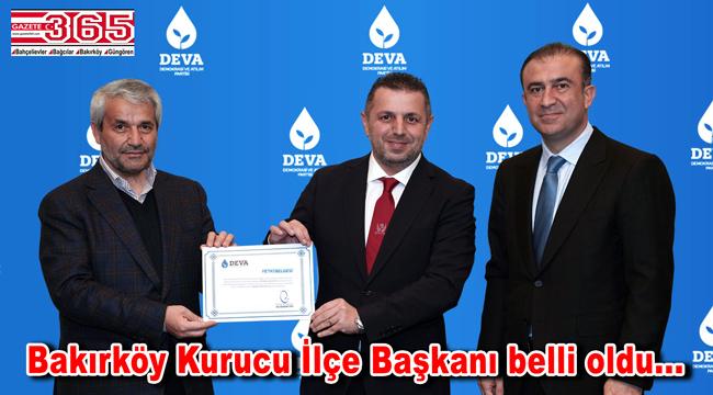 DEVA Partisi Bakırköy Kurucu İlçe Başkanlığı görevine; Mehmet Emin Aslan atandı