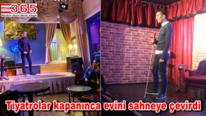 Görme engelli Hamza Demir, evinden online Stand up gösterisi yapıyor