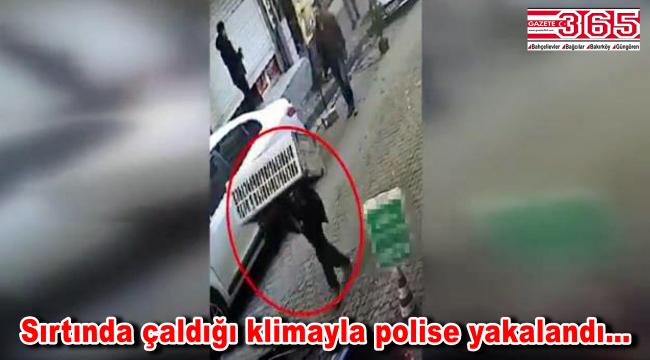 Bahçelievler'de bir kişi çaldığı klimayı taşırken polise yakalandı